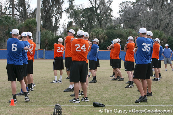 Florida players stretch during the Gators' first day of practice on Friday, January 29, 2010 at McKethan Stadium in Gainesville, Fla. / Gator Country photo by Tim Casey