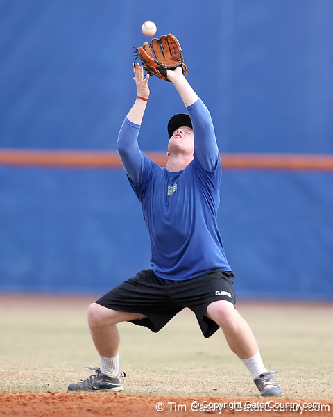 Florida sophomore infielder Jerico Weitzel fields a pop fly during the Gators' first day of practice on Friday, January 29, 2010 at McKethan Stadium in Gainesville, Fla. / Gator Country photo by Tim Casey