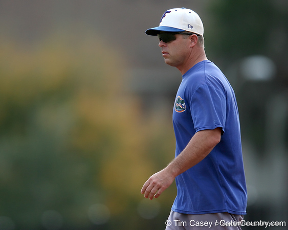 Florida baseball head coach Kevin O'Sullivan oversees warmups during the Gators' first day of practice on Friday, January 29, 2010 at McKethan Stadium in Gainesville, Fla. / Gator Country photo by Tim Casey