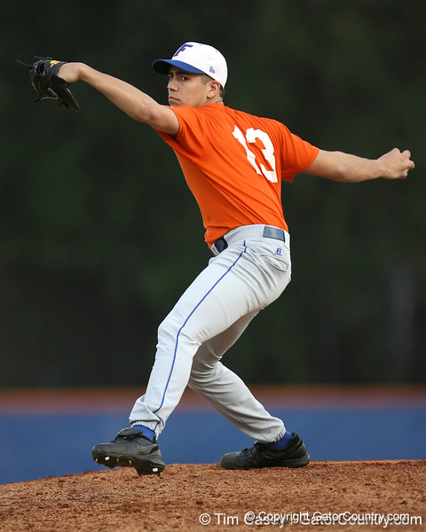 Florida sophomore pitcher Tommy Toledo winds up during the Gators' first day of practice on Friday, January 29, 2010 at McKethan Stadium in Gainesville, Fla. / Gator Country photo by Tim Casey