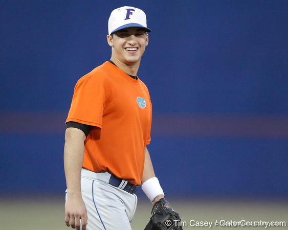Florida senior infielder Jandy Rosabal jokes with a teammate during the Gators' first day of practice on Friday, January 29, 2010 at McKethan Stadium in Gainesville, Fla. / Gator Country photo by Tim Casey