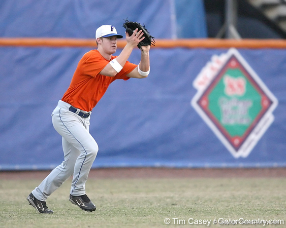 Florida sophomore outfielder Daniel Pigott fields a fly ball during the Gators' first day of practice on Friday, January 29, 2010 at McKethan Stadium in Gainesville, Fla. / Gator Country photo by Tim Casey