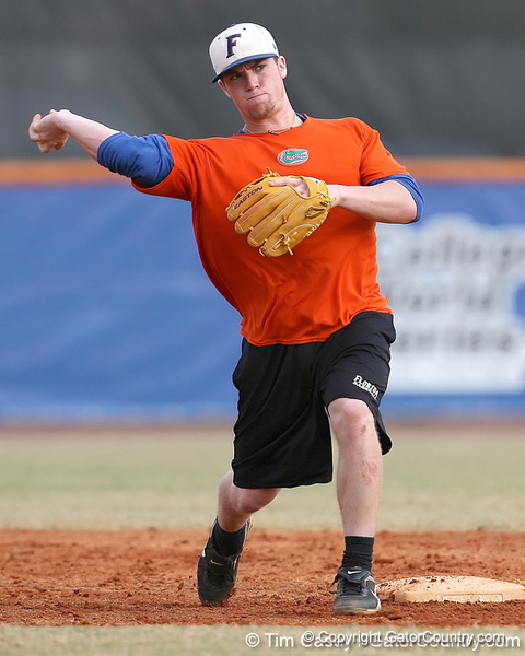 Florida freshman infielder Nolan Fontana throws to first base during the Gators' first day of practice on Friday, January 29, 2010 at McKethan Stadium in Gainesville, Fla. / Gator Country photo by Tim Casey