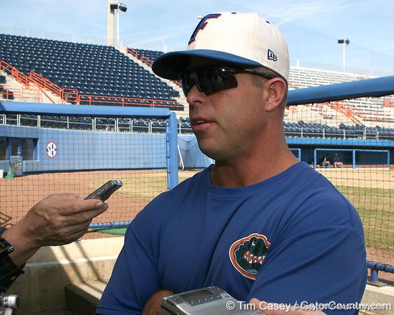 Florida baseball head coach Kevin O'Sullivan talks to reporters during the Gators' first day of practice on Friday, January 29, 2010 at McKethan Stadium in Gainesville, Fla. / Gator Country photo by Tim Casey