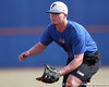 Florida freshman catcher Austin Maddox gets in position at first base during the Gators' first day of practice on Friday, January 29, 2010 at McKethan Stadium in Gainesville, Fla. / Gator Country photo by Tim Casey
