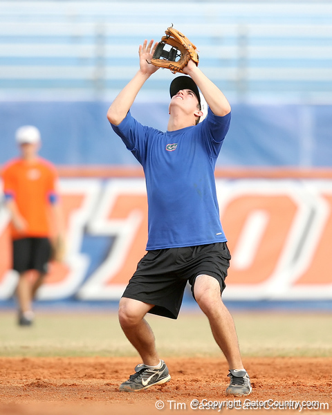 Florida freshman infielder Cody Dent fields a pop fly during the Gators' first day of practice on Friday, January 29, 2010 at McKethan Stadium in Gainesville, Fla. / Gator Country photo by Tim Casey