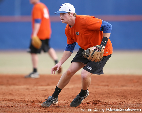 Florida junior infielder Bryson Smith fields a ground ball during the Gators' first day of practice on Friday, January 29, 2010 at McKethan Stadium in Gainesville, Fla. / Gator Country photo by Tim Casey