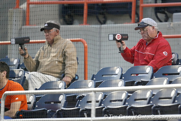 Scouts watch during the Gators' first day of practice on Friday, January 29, 2010 at McKethan Stadium in Gainesville, Fla. / Gator Country photo by Tim Casey