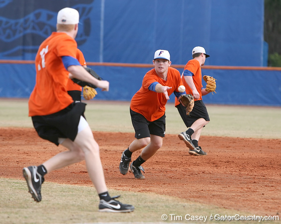 Florida junior infielder Bryson Smith flips the ball to first base during the Gators' first day of practice on Friday, January 29, 2010 at McKethan Stadium in Gainesville, Fla. / Gator Country photo by Tim Casey
