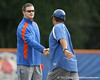 Florida baseball strength & conditioning coordinator Paul Chandler shakes hands with assistant coach Craig Bell during the Gators' first day of practice on Friday, January 29, 2010 at McKethan Stadium in Gainesville, Fla. / Gator Country photo by Tim Casey