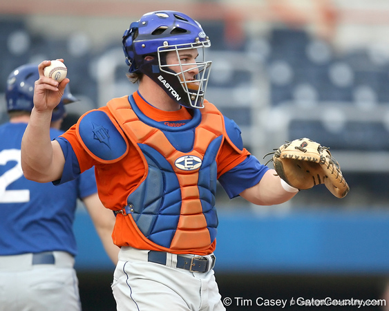 Florida sophomore catcher Ben McMahan throws to the pitcher during the Gators' first day of practice on Friday, January 29, 2010 at McKethan Stadium in Gainesville, Fla. / Gator Country photo by Tim Casey
