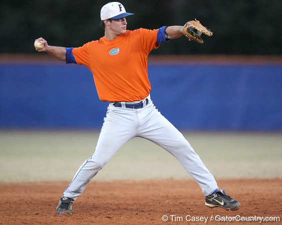 Florida freshman infielder Cody Dent throws to first base during the Gators' first day of practice on Friday, January 29, 2010 at McKethan Stadium in Gainesville, Fla. / Gator Country photo by Tim Casey