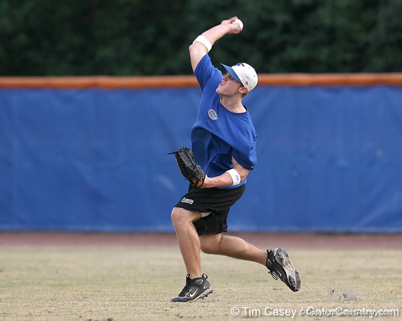 Florida sophomore outfielder Daniel Pigott throws to the catcher during the Gators' first day of practice on Friday, January 29, 2010 at McKethan Stadium in Gainesville, Fla. / Gator Country photo by Tim Casey