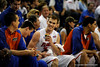 (Casey Brooke Lawson / Gator Country) UF forward Nick Calathes laughs with his teammates during the second half of the Gators games against Lancers in Gainesville, Fla., on January 6, 2009. The Gators won 95 to 69.