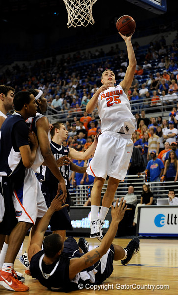 (Casey Brooke Lawson / Gator Country) UF forward Chandler Parsons scores over a Longwood player during the half time of the Gators games against Lancers in Gainesville, Fla., on January 6, 2009.