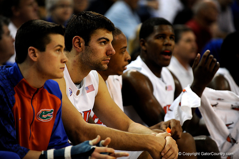 (Casey Brooke Lawson / Gator Country)UF forward Dan Werner sits on the bench during the first half of the Gators games against Lancers in Gainesville, Fla., on January 6, 2009.