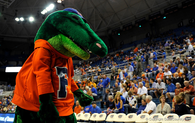 (Casey Brooke Lawson / Gator Country) UF Mascot Albert the Alligator cheers for the crowd during the first half of the Gators games against Lancers in Gainesville, Fla., on January 6, 2009.