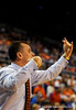 (Casey Brooke Lawson / Gator Country) UF Head Coach Billy Donovan calls to his team during the half time of the Gators games against Lancers in Gainesville, Fla., on January 6, 2009.