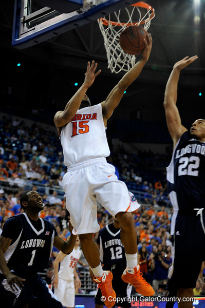 (Casey Brooke Lawson / Gator Country) UF guard Walter Hodge scores over a Longwood player during the first half of the Gators games against Lancers in Gainesville, Fla., on January 6, 2009.