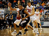 (Casey Brooke Lawson / Gator Country) UF forward Dan Werner and Chandler Parsons guard a Longwood player during the second half of the Gators games against Lancers in Gainesville, Fla., on January 6, 2009. The Gators won 95 to 69.
