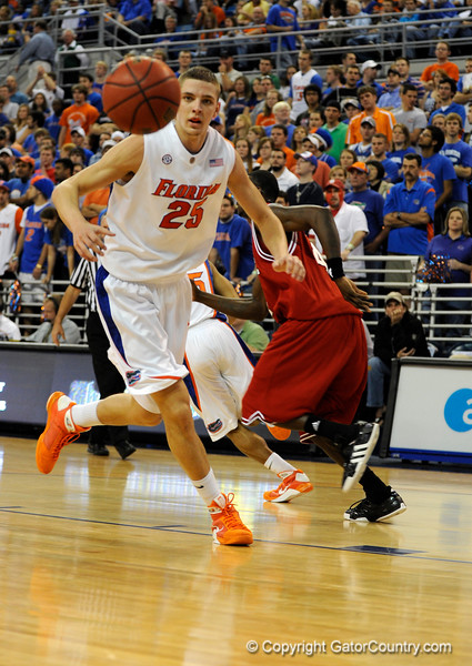 (Casey Brooke Lawson / Gator Country) UF forward Chandler Parsons scores looks toward the ball before receiving a pass during the first half of the Gators game against the Wolfpack in Gainesville, Fla., on January 3, 2009. The Gators won 68 to 66.