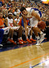 (Casey Brooke Lawson / Gator Country) UF forward Dan Werner loses grip of the ball during the first half of the Gators game against the Wolfpack in Gainesville, Fla., on January 3, 2009. The Gators won 68 to 66.