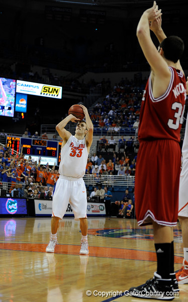 (Casey Brooke Lawson / Gator Country) UF forward Nick Calathes successfully scores on a free throw during the first half of the Gators game against the Wolfpack in Gainesville, Fla., on January 3, 2009. The Gators won 68 to 66.