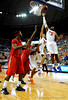 (Casey Brooke Lawson / Gator Country) UF forward Ray Shipman attempts to score over an Ole Miss player during the Gators 78 to 68 victory over the Rebels in Gainesville, Fla., on January 10, 2009.