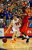 (Casey Brooke Lawson / Gator Country) UF forward Nick Calathes attempts to move the ball past an Ole Miss player during the Gators 78 to 68 victory over the Rebels in Gainesville, Fla., on January 10, 2009.