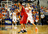 (Casey Brooke Lawson / Gator Country) UF forward Nick Calathes guards Ole Miss guard David Huertas [former UF player 2005-2006] during the Gators 78 to 68 victory over the Rebels in Gainesville, Fla., on January 10, 2009.