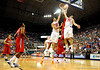 (Casey Brooke Lawson / Gator Country) An Ole Miss player grabs the ball from UF forward Dan Werner and Nick Calathes during the Gators 78 to 68 victory over the Rebels in Gainesville, Fla., on January 10, 2009.