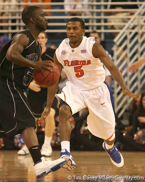 photo by Tim Casey<br /> <br /> Florida sophomore guard Jai Lucas plays defense during the first half of the Gators' exhibition game against the Warner Southern Royals on Monday, November 3, 2008 at the Stephen C. O'Connell Center in Gainesville, Fla.