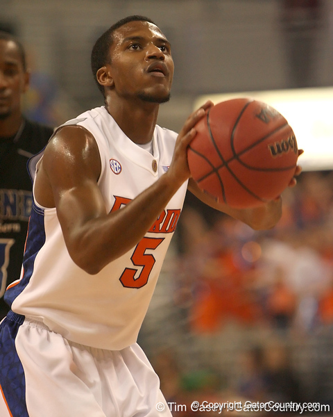 photo by Tim Casey<br /> <br /> Florida sophomore guard Jai Lucas shoots a free throw during the second half of the Gators' 108-49 win in an exhibition game against the Warner Southern Royals on Monday, November 3, 2008 at the Stephen C. O'Connell Center in Gainesville, Fla.