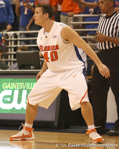 photo by Tim Casey<br /> <br /> Florida sophomore guard Hudson Fricke gets in position during the second half of the Gators' 108-49 win in an exhibition game against the Warner Southern Royals on Monday, November 3, 2008 at the Stephen C. O'Connell Center in Gainesville, Fla.