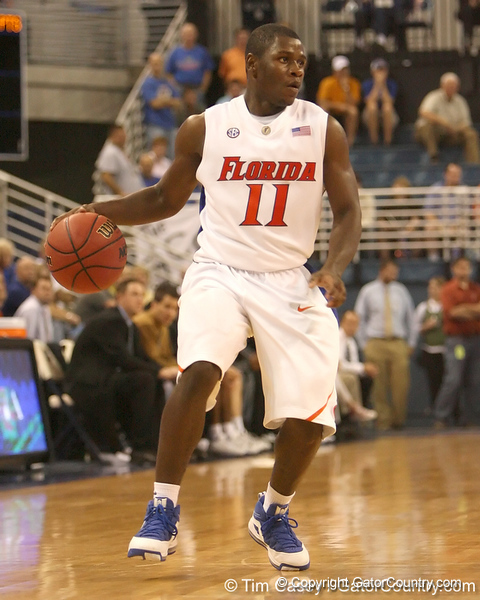 photo by Tim Casey<br /> <br /> Florida freshman guard Erving Walker dribbles around the elbow during the second half of the Gators' 108-49 win in an exhibition game against the Warner Southern Royals on Monday, November 3, 2008 at the Stephen C. O'Connell Center in Gainesville, Fla.