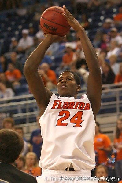 photo by Tim Casey<br /> <br /> Florida freshman forward Allan Chaney makes a jump shot during the second half of the Gators' 108-49 win in an exhibition game against the Warner Southern Royals on Monday, November 3, 2008 at the Stephen C. O'Connell Center in Gainesville, Fla.
