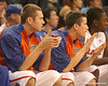 photo by Tim Casey<br /> <br /> Florida freshman guard Kyle McClanahan watches from the bench during the second half of the Gators' 108-49 win in an exhibition game against the Warner Southern Royals on Monday, November 3, 2008 at the Stephen C. O'Connell Center in Gainesville, Fla.