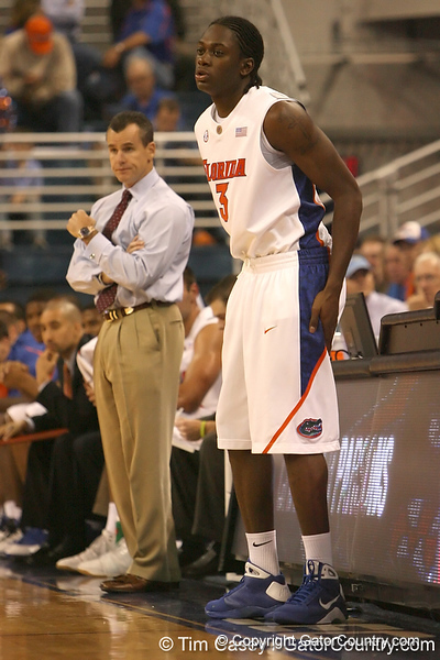 photo by Tim Casey<br /> <br /> Florida freshman guard/forward Ray Shipman prepares to check in during the first half of the Gators' exhibition game against the Warner Southern Royals on Monday, November 3, 2008 at the Stephen C. O'Connell Center in Gainesville, Fla.