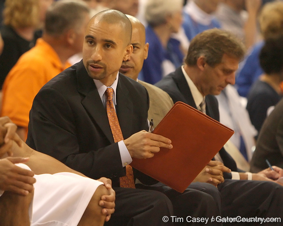 photo by Tim Casey<br /> <br /> Florida assistant coach Shaka Smart talks with a player during the second half of the Gators' 108-49 win in an exhibition game against the Warner Southern Royals on Monday, November 3, 2008 at the Stephen C. O'Connell Center in Gainesville, Fla.