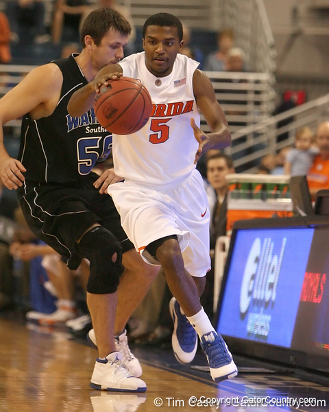 photo by Tim Casey<br /> <br /> Florida sophomore guard Jai Lucas attempts a steal during the first half of the Gators' exhibition game against the Warner Southern Royals on Monday, November 3, 2008 at the Stephen C. O'Connell Center in Gainesville, Fla.