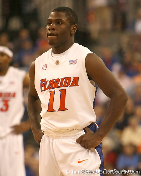 photo by Tim Casey<br /> <br /> Florida freshman guard Erving Walker catches his breath during the first half of the Gators' exhibition game against the Warner Southern Royals on Monday, November 3, 2008 at the Stephen C. O'Connell Center in Gainesville, Fla.