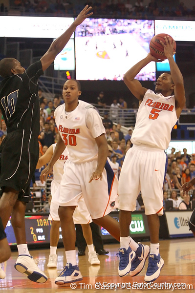 photo by Tim Casey<br /> <br /> Florida sophomore guard Jai Lucas attempts a two-point shot during the first half of the Gators' exhibition game against the Warner Southern Royals on Monday, November 3, 2008 at the Stephen C. O'Connell Center in Gainesville, Fla.