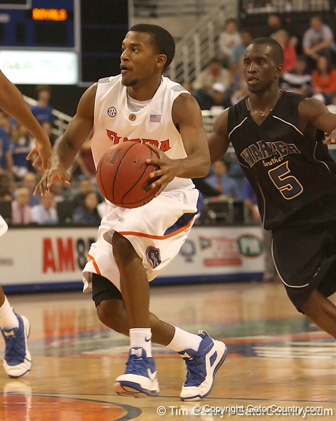 photo by Tim Casey<br /> <br /> Florida sophomore guard Jai Lucas prepares to shoot a jump shot during the first half of the Gators' exhibition game against the Warner Southern Royals on Monday, November 3, 2008 at the Stephen C. O'Connell Center in Gainesville, Fla.