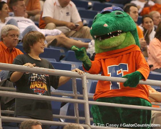 photo by Tim Casey<br /> <br /> Albert cheers with a fan during the second half of the Gators' 108-49 win in an exhibition game against the Warner Southern Royals on Monday, November 3, 2008 at the Stephen C. O'Connell Center in Gainesville, Fla.