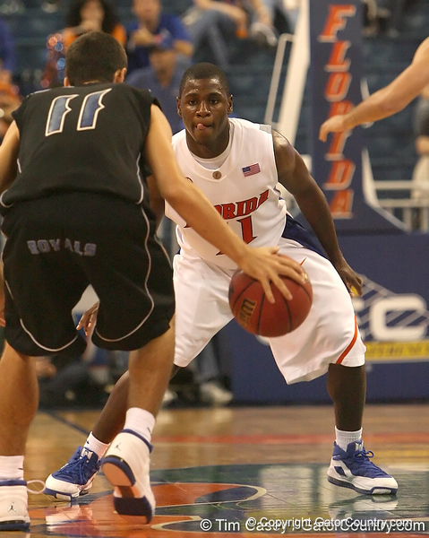 photo by Tim Casey<br /> <br /> Florida freshman guard Erving Walker guards a player during the second half of the Gators' 108-49 win in an exhibition game against the Warner Southern Royals on Monday, November 3, 2008 at the Stephen C. O'Connell Center in Gainesville, Fla.