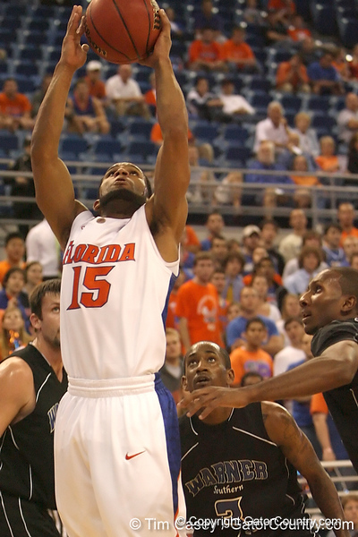 photo by Tim Casey<br /> <br /> Florida senior guard Walter Hodge makes a layup during the first half of the Gators' exhibition game against the Warner Southern Royals on Monday, November 3, 2008 at the Stephen C. O'Connell Center in Gainesville, Fla.