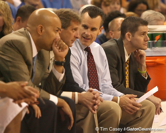 photo by Tim Casey<br /> <br /> Florida head coach Billy Donovan walks with associate head coach Larry Shyatt during the second half of the Gators' 108-49 win in an exhibition game against the Warner Southern Royals on Monday, November 3, 2008 at the Stephen C. O'Connell Center in Gainesville, Fla.