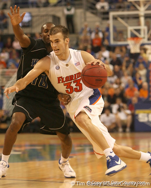 photo by Tim Casey<br /> <br /> Florida sophomore guard/forward Nick Calathes drives to the goal during the first half of the Gators' exhibition game against the Warner Southern Royals on Monday, November 3, 2008 at the Stephen C. O'Connell Center in Gainesville, Fla.
