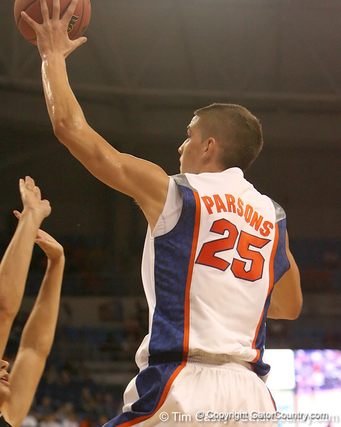 photo by Tim Casey<br /> <br /> Florida sophomore forward Chandler Parsons makes a layup during the first half of the Gators' exhibition game against the Warner Southern Royals on Monday, November 3, 2008 at the Stephen C. O'Connell Center in Gainesville, Fla.