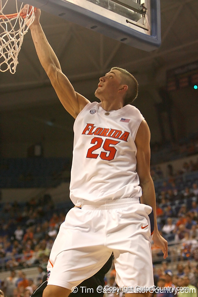 photo by Tim Casey<br /> <br /> Florida sophomore forward Chandler Parsons slams in two points during the second half of the Gators' 108-49 win in an exhibition game against the Warner Southern Royals on Monday, November 3, 2008 at the Stephen C. O'Connell Center in Gainesville, Fla.